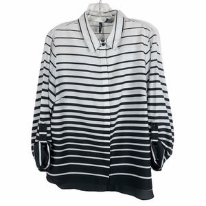 New Directions Large Top Black White Striped 860